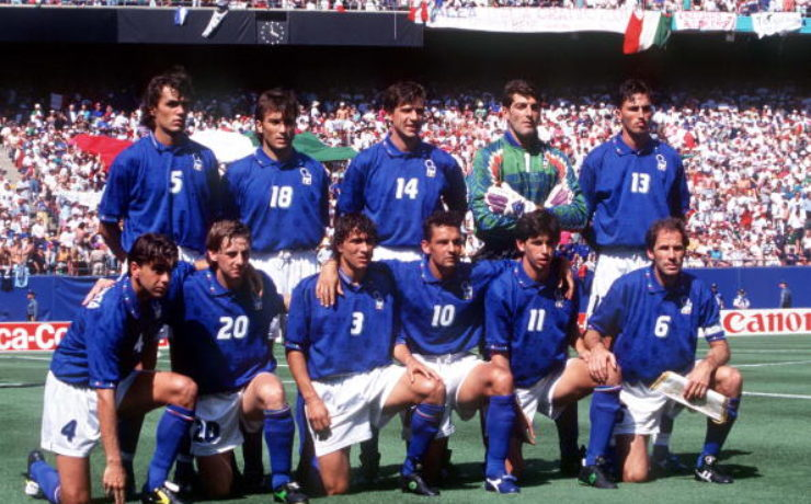 1994 World Cup Finals. New Jersey, USA. 23rd June, 1994. Italy 1 v Norway 0. The Italian team line up before the match