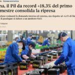 La Cina con il PIL +18,3% traina l'economia del pianeta e l'Italia sprofonda!